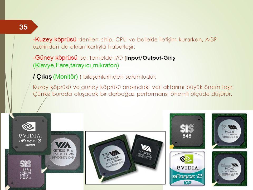 -Kuzey köprüsü denilen chip, CPU ve bellekle iletişim kurarken, AGP üzerinden de ekran kartıyla haberleşir. -Güney köprüsü ise, temelde I/O ( Input/Ou