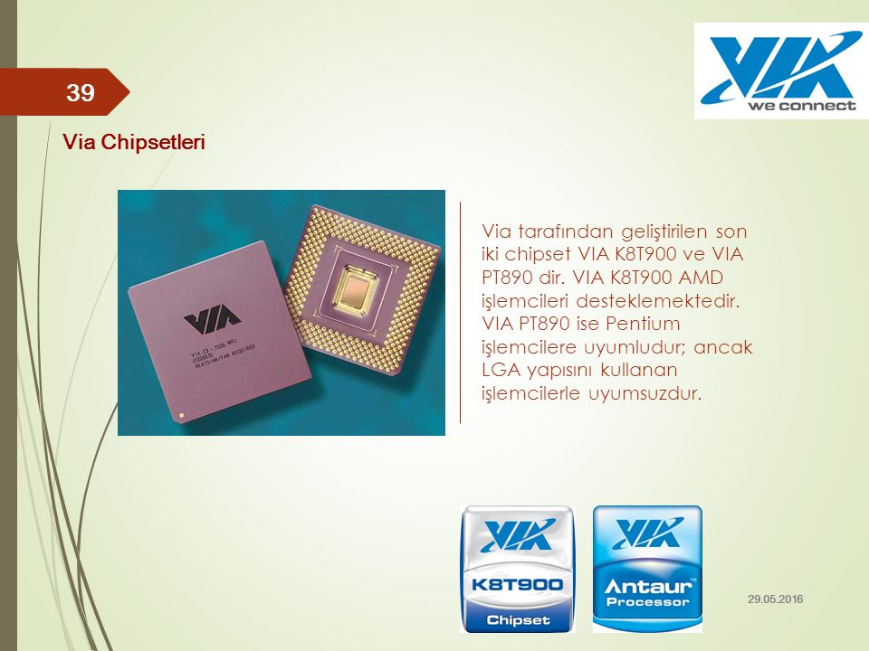 Via tarafından geliştirilen son iki chipset VIA K8T900 ve VIA PT890 dir. VIA K8T900 AMD işlemcileri desteklemektedir. VIA PT890 ise Pentium işlemciler