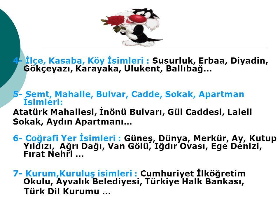 VARLIKLARIN VERİLİŞİNE GÖRE İSİMLER Belli Başlı Kullanım Yerleri: 2- Hayvanlara Verilen İsimler : Boncuk, Karabaş, Minnoş, Tekir, Fındık...