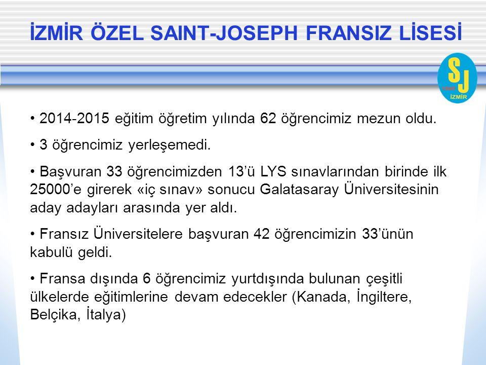 İZMİR ÖZEL SAINT-JOSEPH FRANSIZ LİSESİ 2014-2015 eğitim öğretim yılında 62 öğrencimiz mezun oldu.
