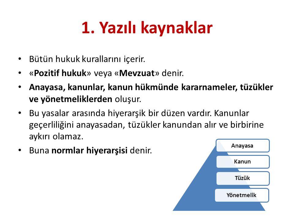 1. Yazılı kaynaklar Bütün hukuk kurallarını içerir.