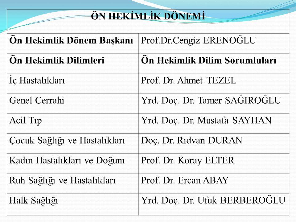 ÖN HEKİMLİK DÖNEMİ Ön Hekimlik Dönem BaşkanıProf.Dr.Cengiz ERENOĞLU Ön Hekimlik DilimleriÖn Hekimlik Dilim Sorumluları İç HastalıklarıProf. Dr. Ahmet