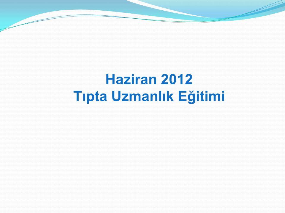 Haziran 2012 Tıpta Uzmanlık Eğitimi