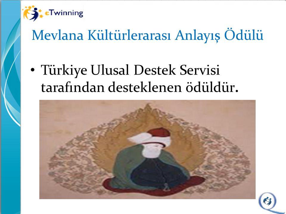 Mevlana Kültürlerarası Anlayış Ödülü Türkiye Ulusal Destek Servisi tarafından desteklenen ödüldür.