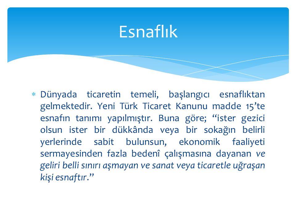 """ Dünyada ticaretin temeli, başlangıcı esnaflıktan gelmektedir. Yeni Türk Ticaret Kanunu madde 15'te esnafın tanımı yapılmıştır. Buna göre; """"ister gez"""