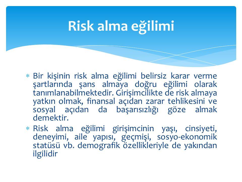  Bir kişinin risk alma eğilimi belirsiz karar verme şartlarında şans almaya doğru eğilimi olarak tanımlanabilmektedir. Girişimcilikte de risk almaya