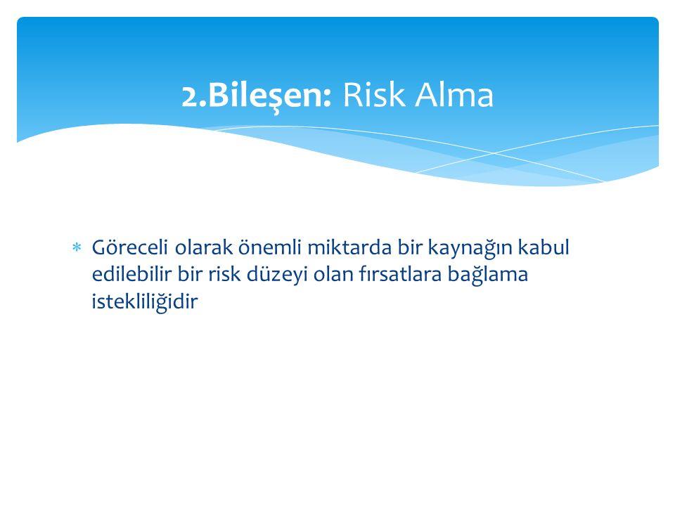  Göreceli olarak önemli miktarda bir kaynağın kabul edilebilir bir risk düzeyi olan fırsatlara bağlama istekliliğidir 2.Bileşen: Risk Alma