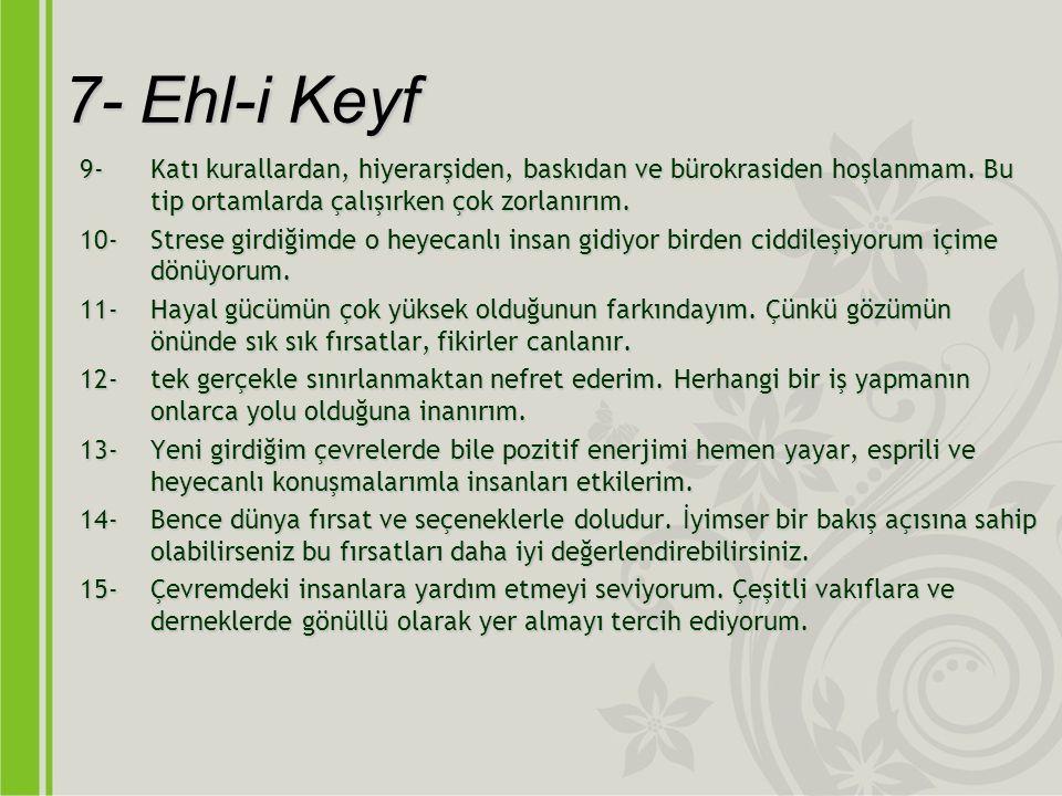 7- Ehl-i Keyf 9-Katı kurallardan, hiyerarşiden, baskıdan ve bürokrasiden hoşlanmam.