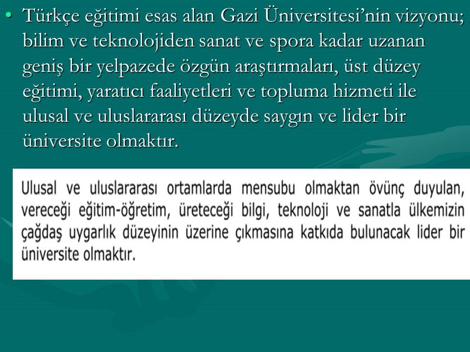 Türkçe eğitimi esas alan Gazi Üniversitesi'nin vizyonu; bilim ve teknolojiden sanat ve spora kadar uzanan geniş bir yelpazede özgün araştırmaları, üst düzey eğitimi, yaratıcı faaliyetleri ve topluma hizmeti ile ulusal ve uluslararası düzeyde saygın ve lider bir üniversite olmaktır.Türkçe eğitimi esas alan Gazi Üniversitesi'nin vizyonu; bilim ve teknolojiden sanat ve spora kadar uzanan geniş bir yelpazede özgün araştırmaları, üst düzey eğitimi, yaratıcı faaliyetleri ve topluma hizmeti ile ulusal ve uluslararası düzeyde saygın ve lider bir üniversite olmaktır.