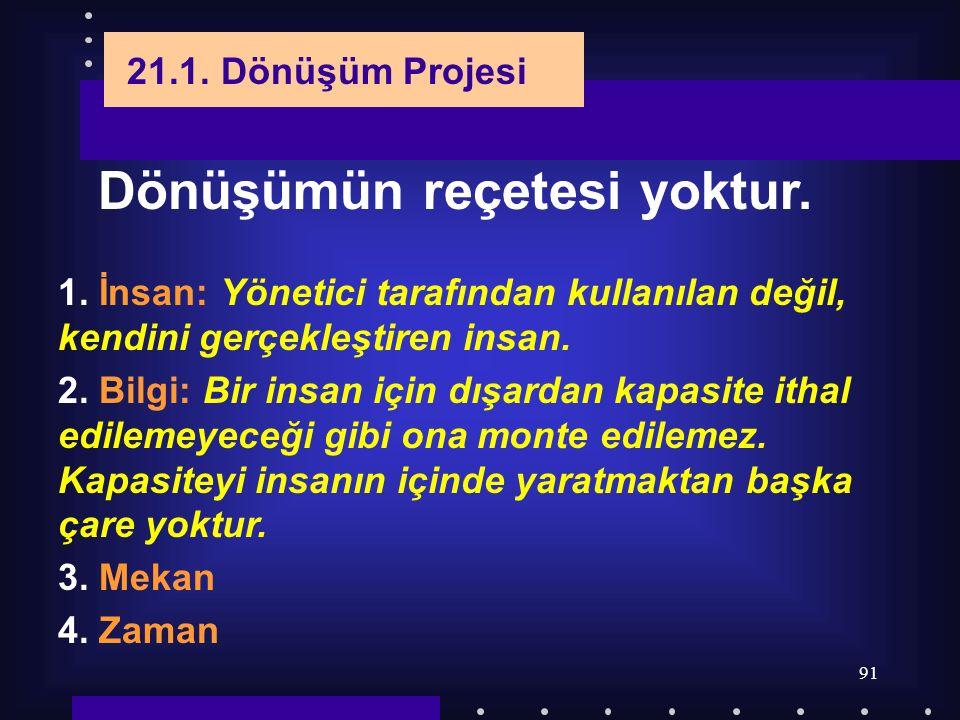 91 21.1. Dönüşüm Projesi Dönüşümün reçetesi yoktur. 1. İnsan: Yönetici tarafından kullanılan değil, kendini gerçekleştiren insan. 2. Bilgi: Bir insan