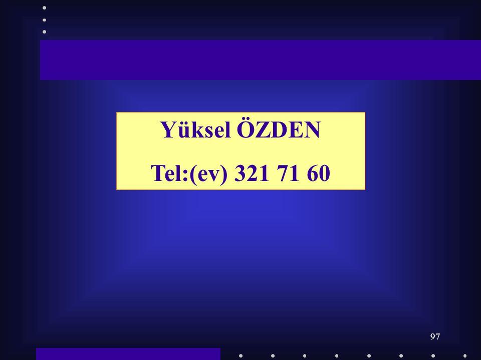 97 Yüksel ÖZDEN Tel:(ev) 321 71 60