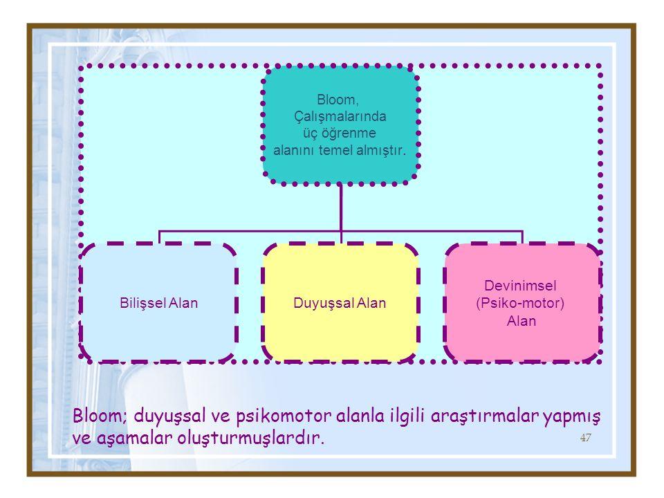 Bloom, Çalışmalarında üç öğrenme alanını temel almıştır.