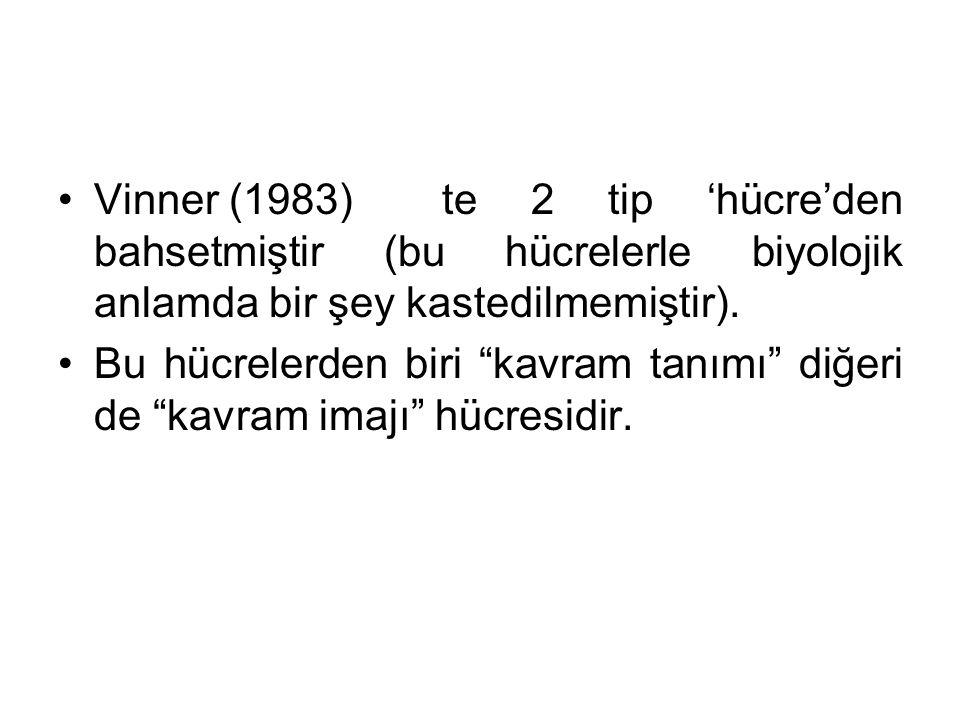 Vinner (1983)te 2 tip 'hücre'den bahsetmiştir (bu hücrelerle biyolojik anlamda bir şey kastedilmemiştir).