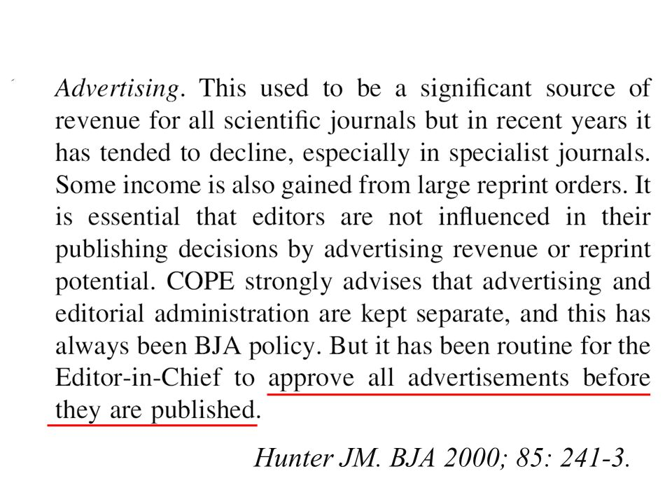 Hunter JM. BJA 2000; 85: 241-3.