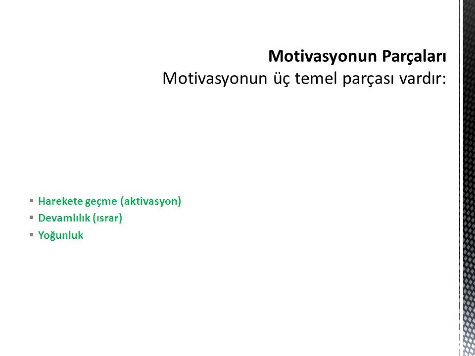  Harekete geçme (aktivasyon)  Devamlılık (ısrar)  Yoğunluk