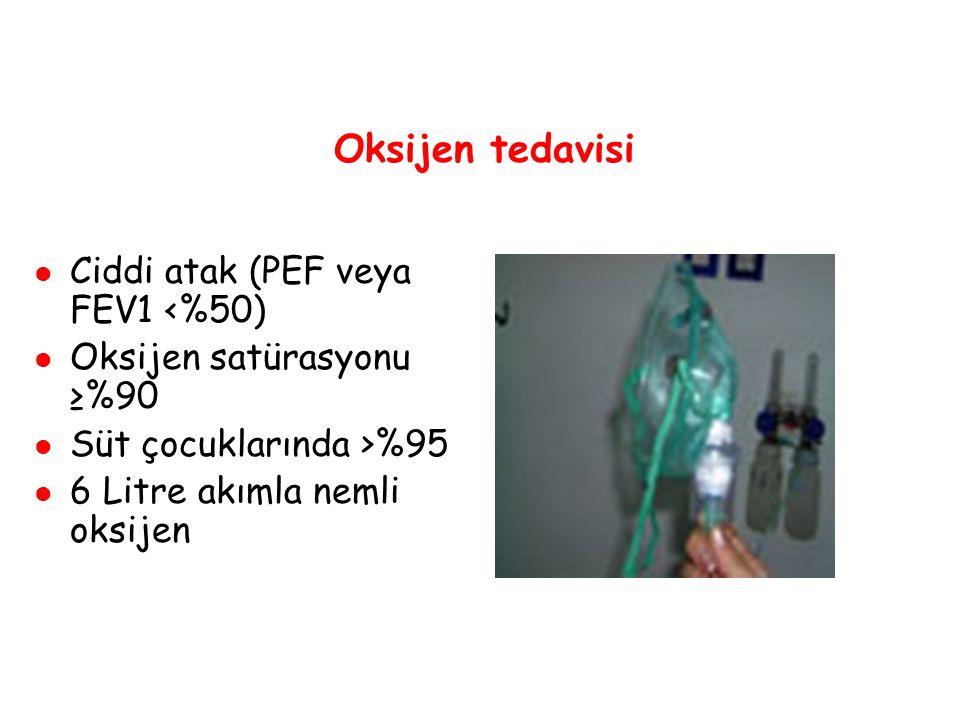 Oksijen tedavisi Ciddi atak (PEF veya FEV1 <%50) Oksijen satürasyonu ≥%90 Süt çocuklarında >%95 6 Litre akımla nemli oksijen