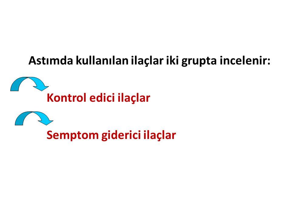 Astımda kullanılan ilaçlar iki grupta incelenir: Kontrol edici ilaçlar Semptom giderici ilaçlar