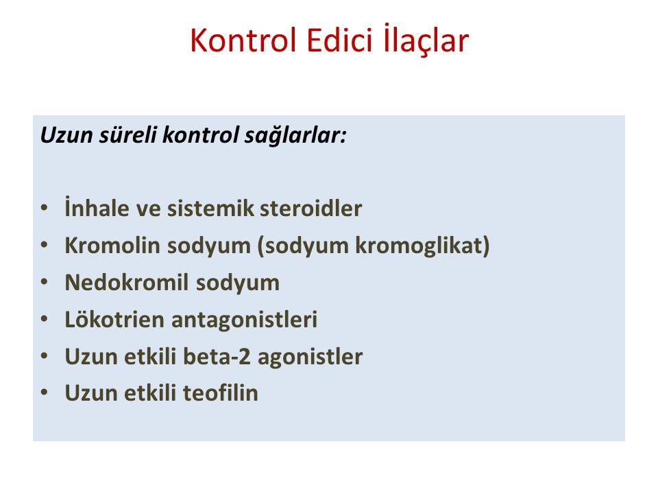 Kontrol Edici İlaçlar Uzun süreli kontrol sağlarlar: İnhale ve sistemik steroidler Kromolin sodyum (sodyum kromoglikat) Nedokromil sodyum Lökotrien antagonistleri Uzun etkili beta-2 agonistler Uzun etkili teofilin