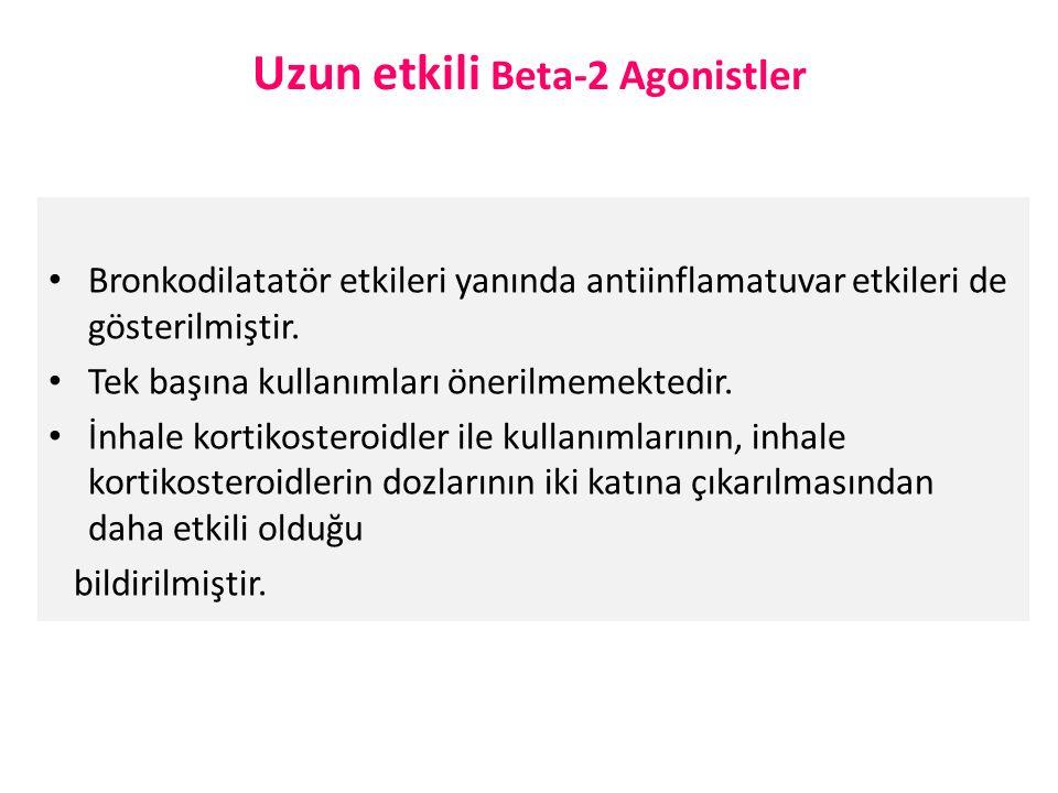 Uzun etkili Beta-2 Agonistler Bronkodilatatör etkileri yanında antiinflamatuvar etkileri de gösterilmiştir.