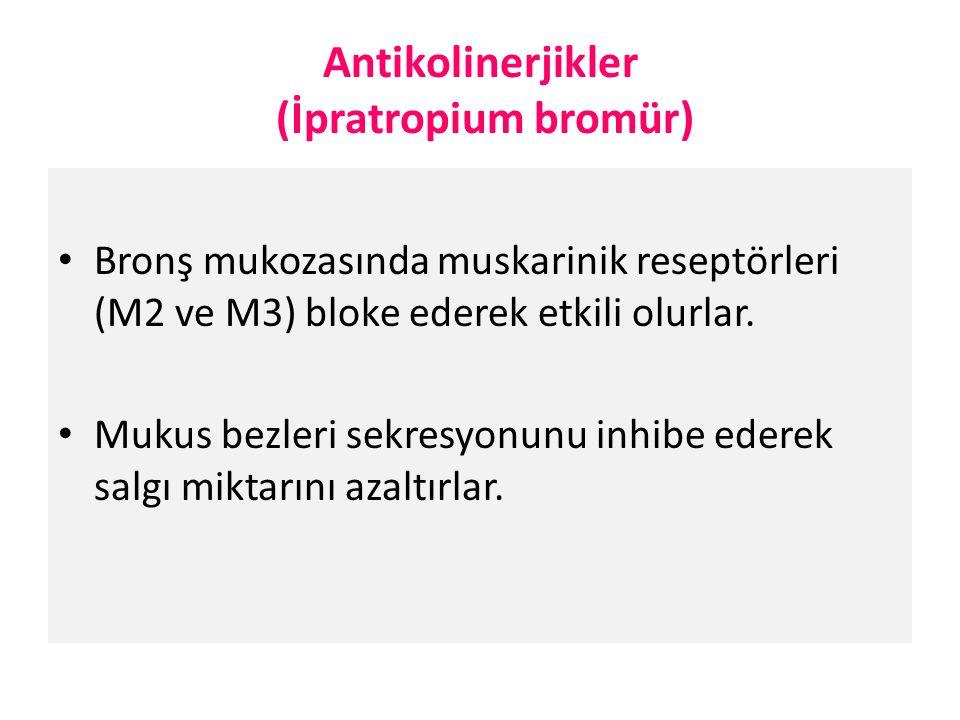 Antikolinerjikler (İpratropium bromür) Bronş mukozasında muskarinik reseptörleri (M2 ve M3) bloke ederek etkili olurlar.
