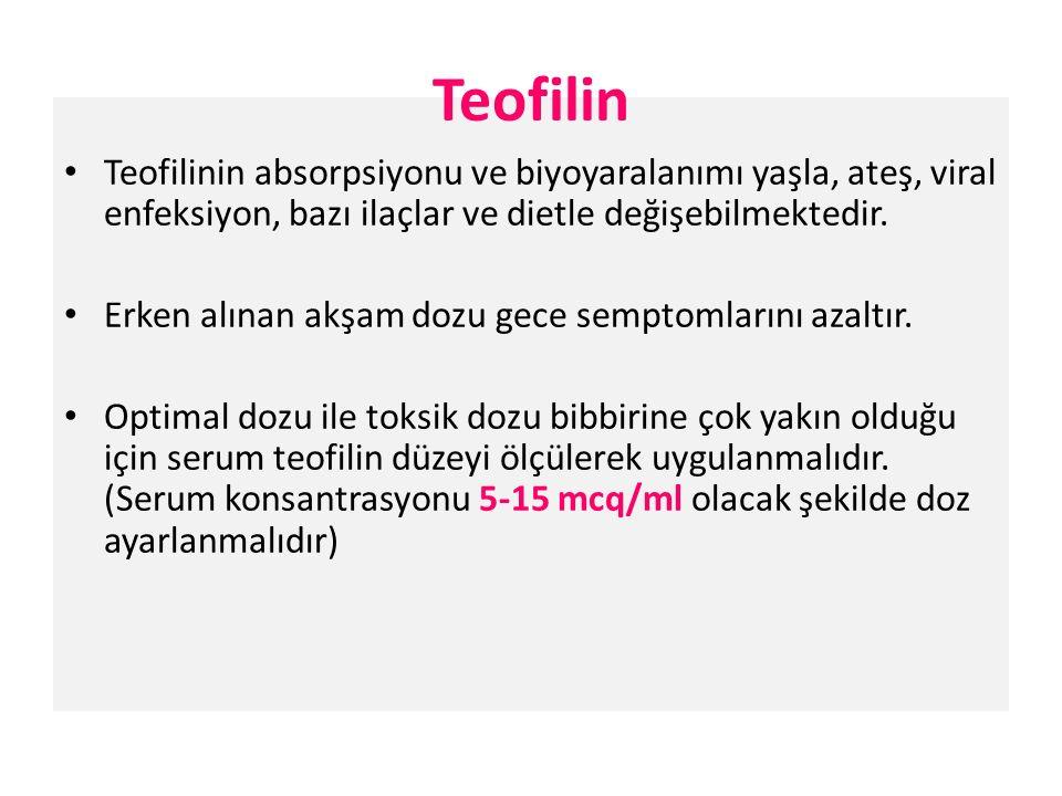 Teofilinin absorpsiyonu ve biyoyaralanımı yaşla, ateş, viral enfeksiyon, bazı ilaçlar ve dietle değişebilmektedir.