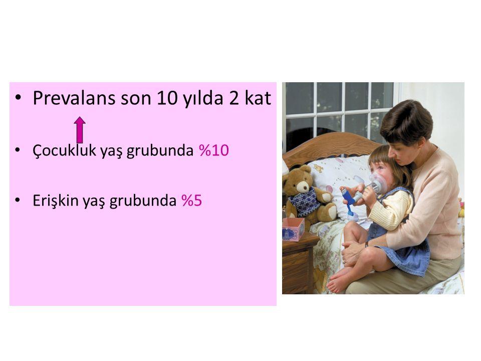 Prevalans son 10 yılda 2 kat Çocukluk yaş grubunda %10 Erişkin yaş grubunda %5