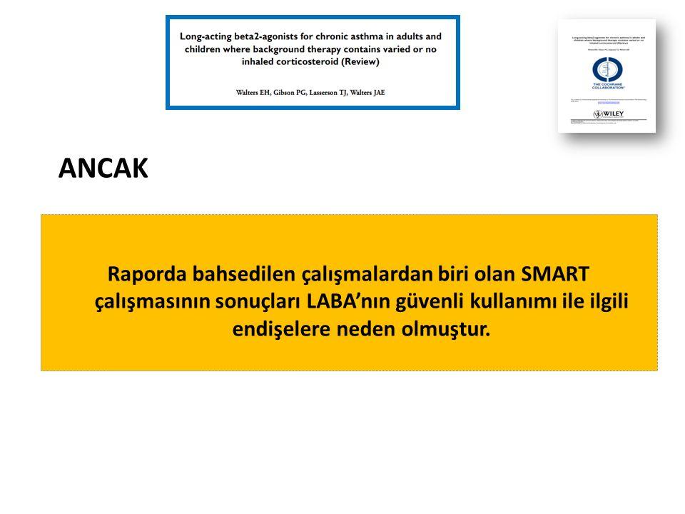 Raporda bahsedilen çalışmalardan biri olan SMART çalışmasının sonuçları LABA'nın güvenli kullanımı ile ilgili endişelere neden olmuştur.