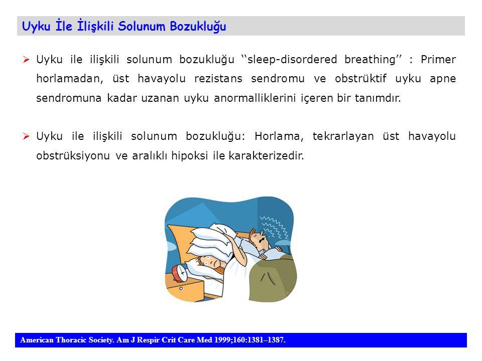 Uyku İle İlişkili Solunum Bozukluğu  Uyku ile ilişkili solunum bozukluğu ''sleep-disordered breathing'' : Primer horlamadan, üst havayolu rezistans s