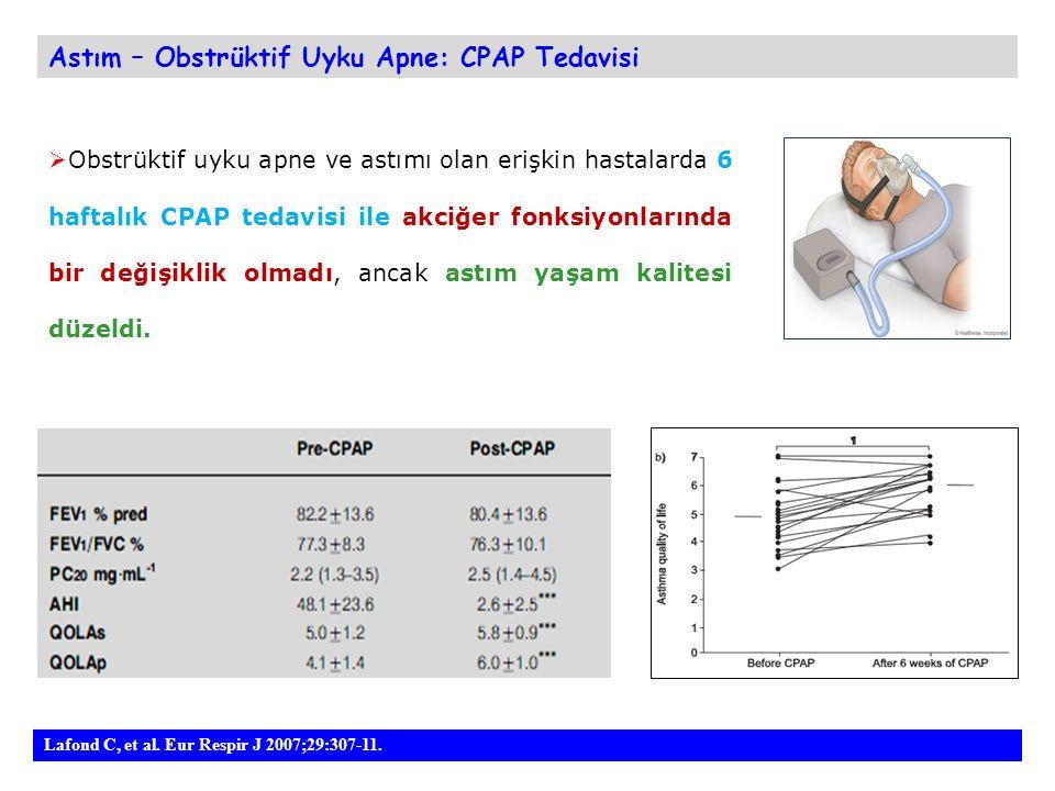 Astım – Obstrüktif Uyku Apne: CPAP Tedavisi  Obstrüktif uyku apne ve astımı olan erişkin hastalarda 6 haftalık CPAP tedavisi ile akciğer fonksiyonlarında bir değişiklik olmadı, ancak astım yaşam kalitesi düzeldi.