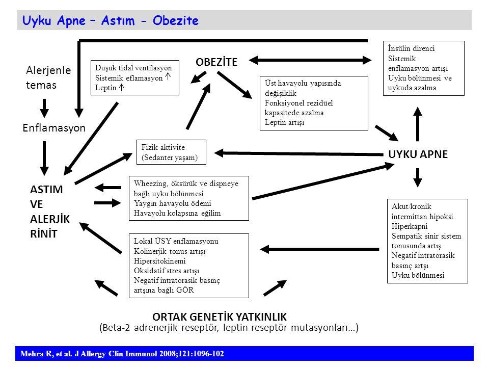 ASTIM VE ALERJİK RİNİT Lokal ÜSY enflamasyonu Kolinerjik tonus artışı Hipersitokinemi Oksidatif stres artışı Negatif intratorasik basınç artşına bağlı
