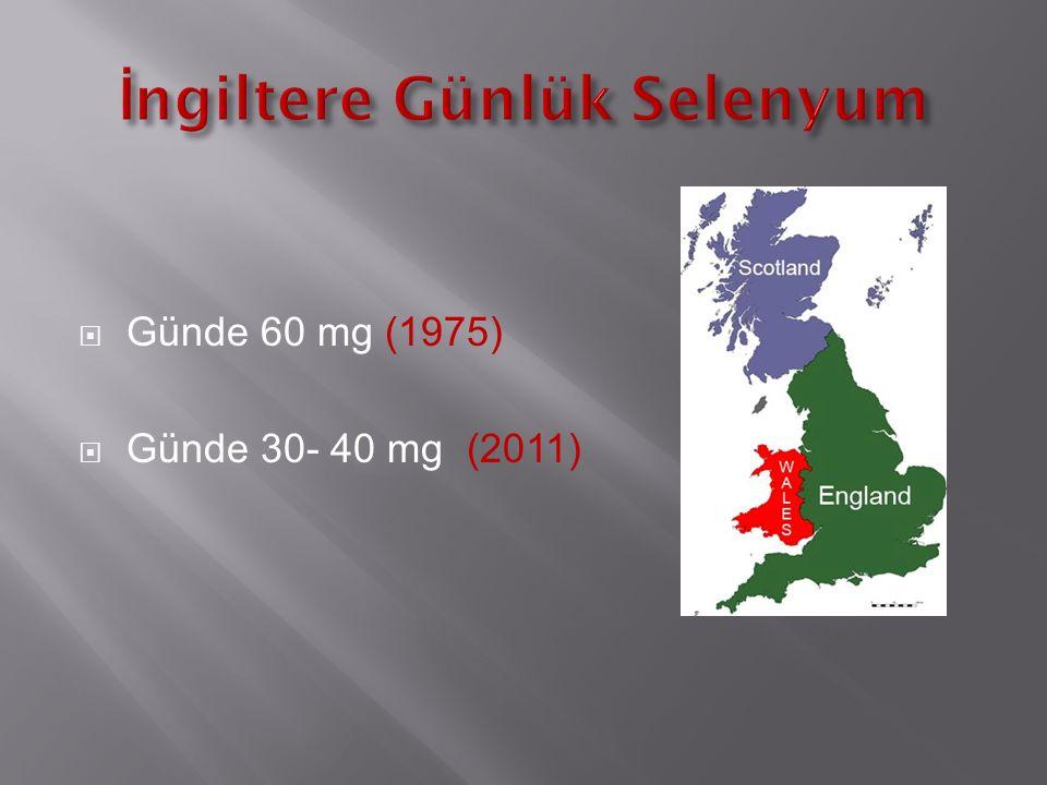  Günde 60 mg (1975)  Günde 30- 40 mg (2011)
