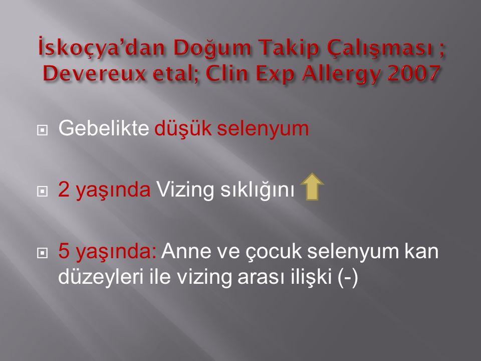  Gebelikte düşük selenyum  2 yaşında Vizing sıklığını  5 yaşında: Anne ve çocuk selenyum kan düzeyleri ile vizing arası ilişki (-)