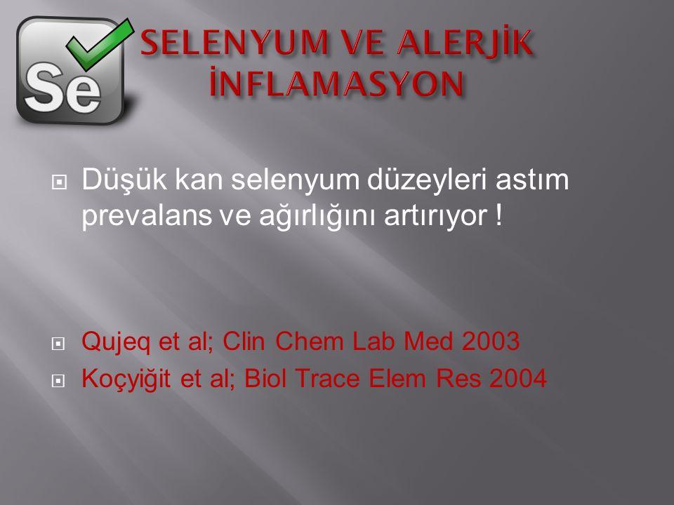  Düşük kan selenyum düzeyleri astım prevalans ve ağırlığını artırıyor .
