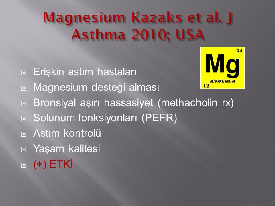  Erişkin astım hastaları  Magnesium desteği alması  Bronsiyal aşırı hassasiyet (methacholin rx)  Solunum fonksiyonları (PEFR)  Astım kontrolü  Yaşam kalitesi  (+) ETKİ