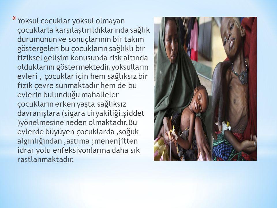 * Yoksul çocuklar yoksul olmayan çocuklarla karşılaştırıldıklarında sağlık durumunun ve sonuçlarının bir takım göstergeleri bu çocukların sağlıklı bir fiziksel gelişim konusunda risk altında olduklarını göstermektedir.yoksulların evleri, çocuklar için hem sağlıksız bir fizik çevre sunmaktadır hem de bu evlerin bulunduğu mahalleler çocukların erken yaşta sağlıksız davranışlara (sigara tiryakiliği,şiddet )yönelmesine neden olmaktadır.Bu evlerde büyüyen çocuklarda,soğuk algınlığından,astıma ;menenjitten idrar yolu enfeksiyonlarına daha sık rastlanmaktadır.