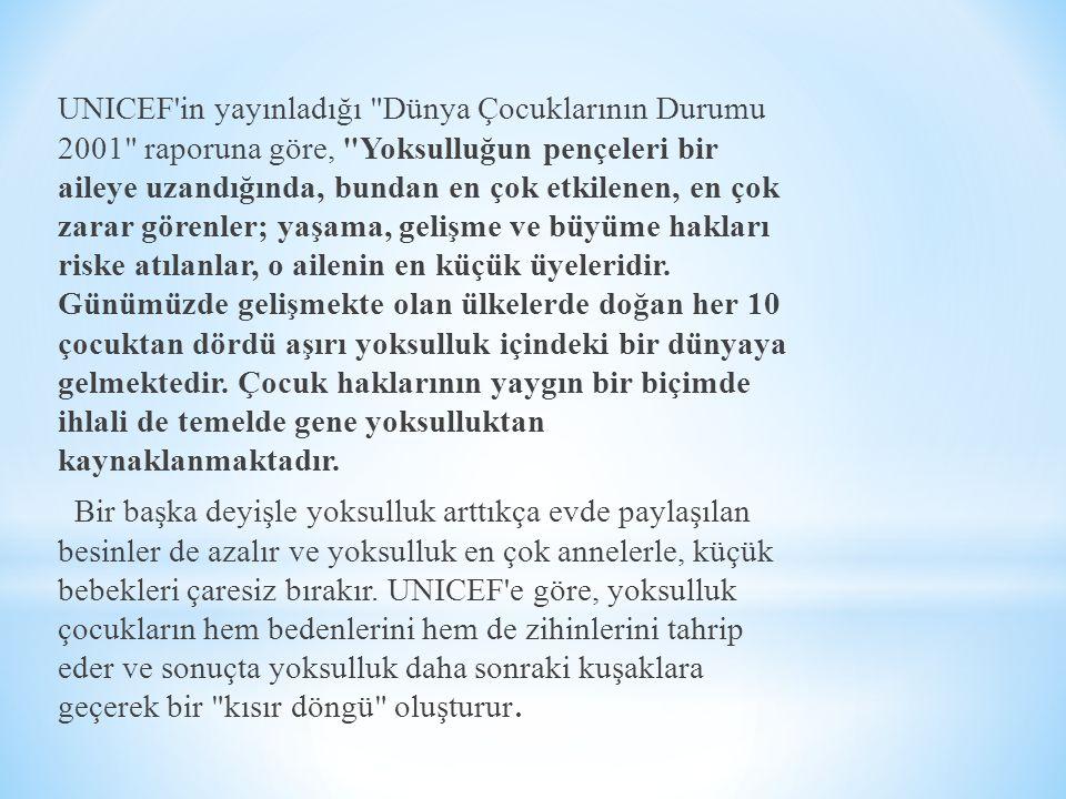 UNICEF'in yayınladığı