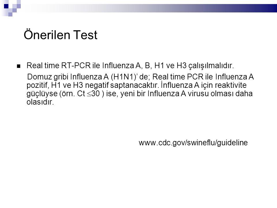 Önerilen Test Real time RT-PCR ile Influenza A, B, H1 ve H3 çalışılmalıdır.