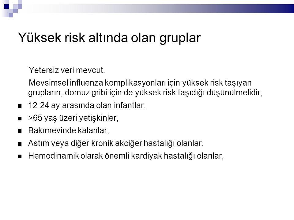 Yüksek risk altında olan gruplar Yetersiz veri mevcut.