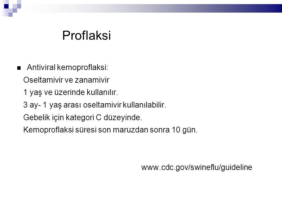 Proflaksi Antiviral kemoproflaksi: Oseltamivir ve zanamivir 1 yaş ve üzerinde kullanılır.