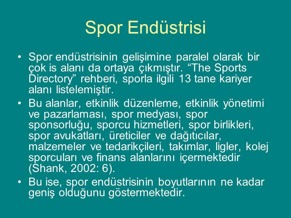 """Spor Endüstrisi Spor endüstrisinin gelişimine paralel olarak bir çok is alanı da ortaya çıkmıştır. """"The Sports Directory"""" rehberi, sporla ilgili 13 ta"""