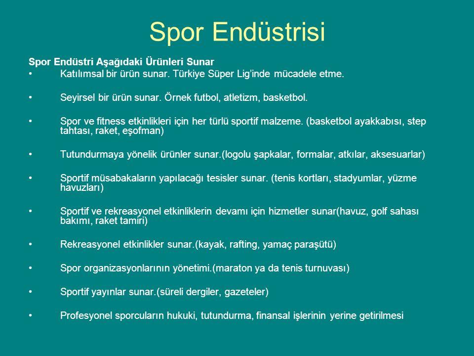Spor Endüstri Aşağıdaki Ürünleri Sunar Katılımsal bir ürün sunar. Türkiye Süper Lig'inde mücadele etme. Seyirsel bir ürün sunar. Örnek futbol, atletiz