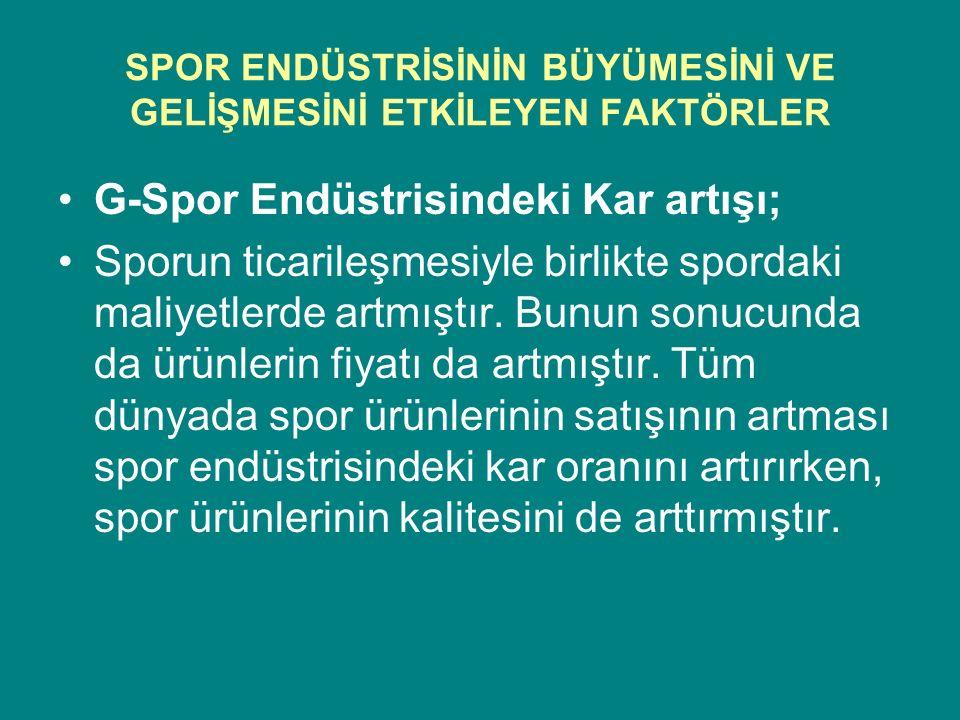 SPOR ENDÜSTRİSİNİN BÜYÜMESİNİ VE GELİŞMESİNİ ETKİLEYEN FAKTÖRLER G-Spor Endüstrisindeki Kar artışı; Sporun ticarileşmesiyle birlikte spordaki maliyetl