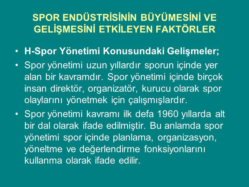 SPOR ENDÜSTRİSİNİN BÜYÜMESİNİ VE GELİŞMESİNİ ETKİLEYEN FAKTÖRLER H-Spor Yönetimi Konusundaki Gelişmeler; Spor yönetimi uzun yıllardır sporun içinde ye
