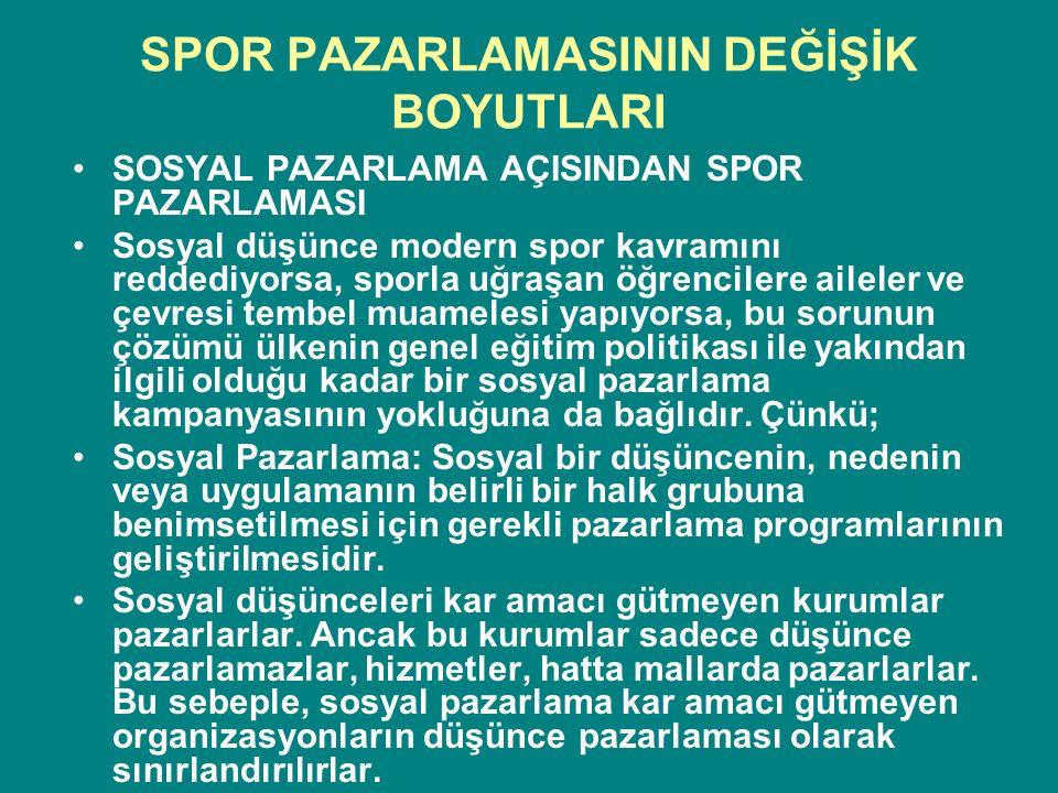SPOR PAZARLAMASININ DEĞİŞİK BOYUTLARI SOSYAL PAZARLAMA AÇISINDAN SPOR PAZARLAMASI Sosyal düşünce modern spor kavramını reddediyorsa, sporla uğraşan öğ