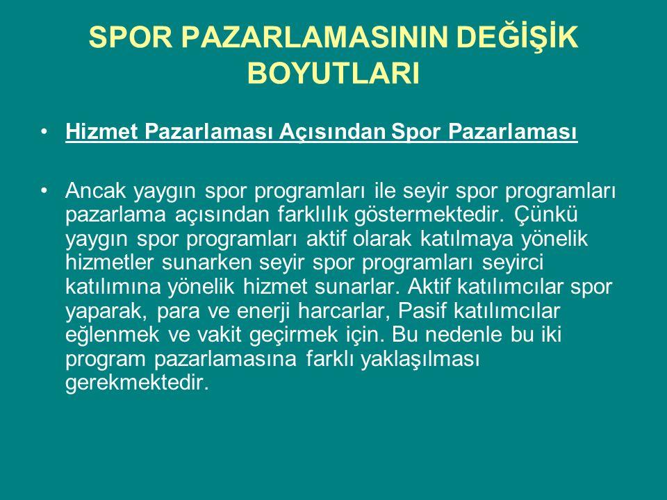 SPOR PAZARLAMASININ DEĞİŞİK BOYUTLARI Hizmet Pazarlaması Açısından Spor Pazarlaması Ancak yaygın spor programları ile seyir spor programları pazarlama