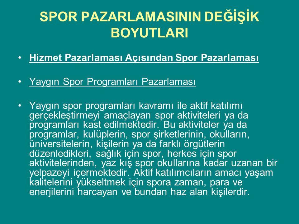 SPOR PAZARLAMASININ DEĞİŞİK BOYUTLARI Hizmet Pazarlaması Açısından Spor Pazarlaması Yaygın Spor Programları Pazarlaması Yaygın spor programları kavram