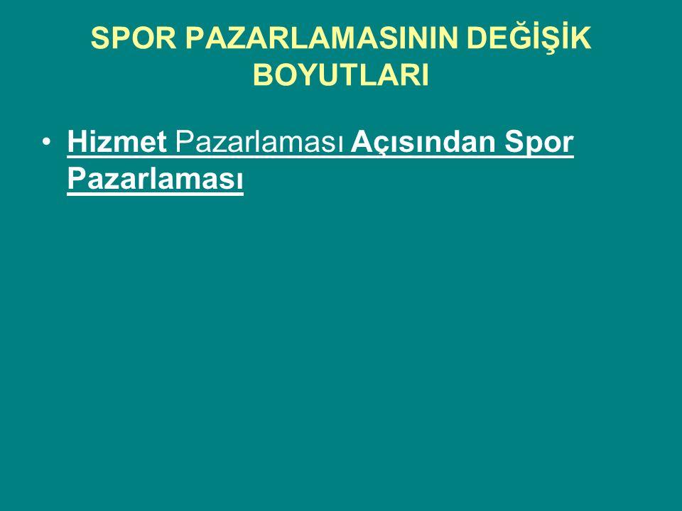 SPOR PAZARLAMASININ DEĞİŞİK BOYUTLARI Hizmet Pazarlaması Açısından Spor Pazarlaması