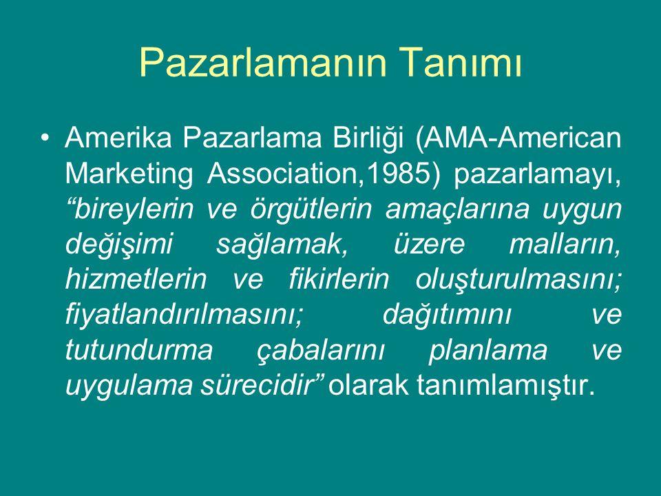 """Pazarlamanın Tanımı Amerika Pazarlama Birliği (AMA-American Marketing Association,1985) pazarlamayı, """"bireylerin ve örgütlerin amaçlarına uygun değişi"""