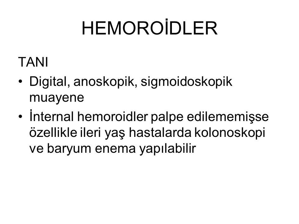 HEMOROİDLER TANI Digital, anoskopik, sigmoidoskopik muayene İnternal hemoroidler palpe edilememişse özellikle ileri yaş hastalarda kolonoskopi ve bary