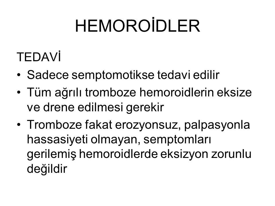 HEMOROİDLER TEDAVİ Sadece semptomotikse tedavi edilir Tüm ağrılı tromboze hemoroidlerin eksize ve drene edilmesi gerekir Tromboze fakat erozyonsuz, pa